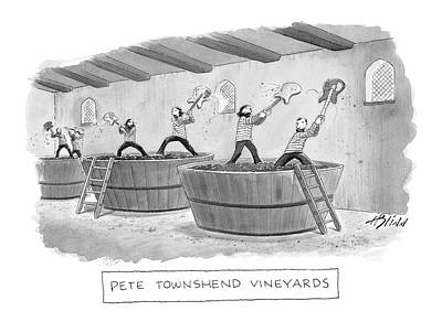 Grape Drawing - Pete Townshend Vineyards by Harry Bliss