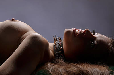 Erect Nipple Photograph - 2471 Beautiful Topless Avonelle In Spiked Collar  by Chris Maher