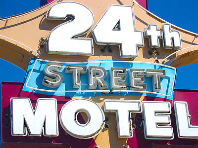 24th Street Motel Sign Art Print by John Castell