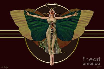 24x36 Butterfly Flapper Art Print by Dia T