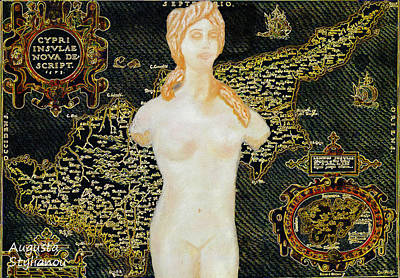Painting - Ancient Cyprus Map And Aphrodite by Augusta Stylianou