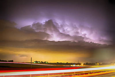 25 To 34 Intra-cloud Lightning Golden Light Car Trails Art Print by James BO  Insogna