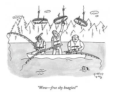 Canoe Drawing - Wow - Free Sky Hoagies! by Farley Katz
