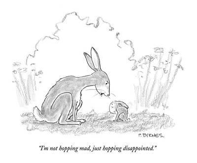 Rabbit Drawing - I'm Not Hopping Mad by Pat Byrnes