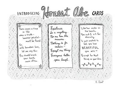 Abraham Lincoln Drawing - Introducing Honest Abe Cards by Roz Chast