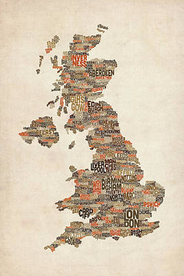 Great Britain Wall Art - Digital Art - Great Britain Uk City Text Map by Michael Tompsett