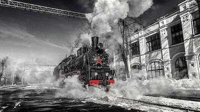 Science Collection - Old Soviet steam locomotive. by Dmitry Laudin