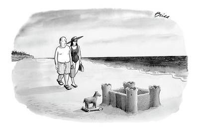 Sand Castle Drawing - New Yorker June 12th, 2006 by Harry Bliss