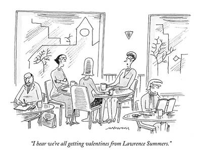 Educator Drawing - I Hear We're All Getting Valentines From Lawrence by Mick Stevens