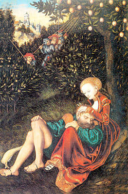 Loving Couple Painting - Samson And Delilah by Lucas Cranach