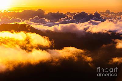 Clouds At Sunrise Over Haleakala Crater Maui Hawaii Usa Art Print