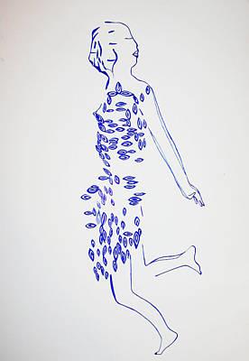 Drawing - Dinka Dance - South Sudan by Gloria Ssali