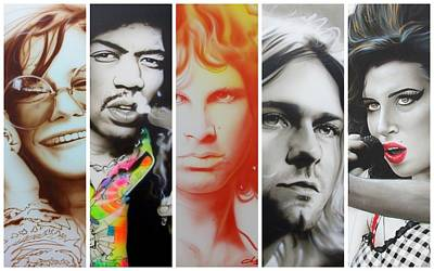 Sixties Painting - Jimi Hendrix, Kurt Cobain, And Amy Winehouse Collage - '27 Eternal' by Christian Chapman Art