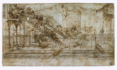Pen And Ink Drawing Photograph - Italy, Tuscany, Florence, Uffizi by Everett