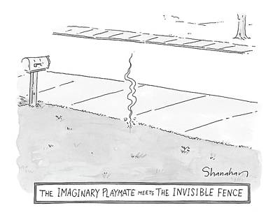 April 25th Drawing - The Imaginary Playmate Meets The Invisible Fence by Danny Shanahan