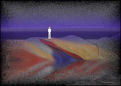 New At Digital Art - 276 -  Man Looking At The Ocean   by Irmgard Schoendorf Welch