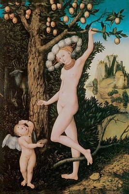 Cupid Complaining To Venus Art Print by Lucas Cranach