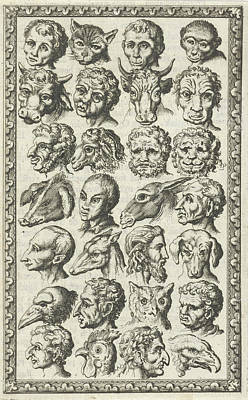 Human Head Drawing - 28 Cups Of Humans And Animals, Jan Luyken by Jan Luyken And Willem Goeree
