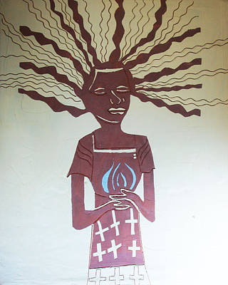 Uganda Contemporary Ceramics Painting - The Wise Virgin by Gloria Ssali