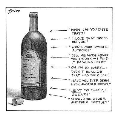 Wine Drawing - New Yorker February 19th, 2007 by Harry Bliss