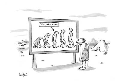 Prehistoric Drawing - New Yorker December 25th, 2006 by Robert Leighton