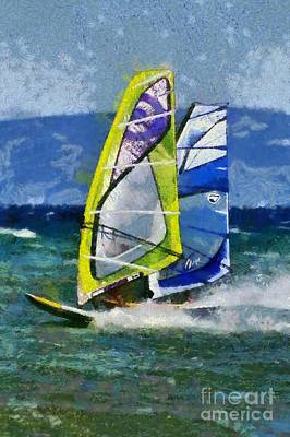 Sports Painting - Windsurfing by George Atsametakis