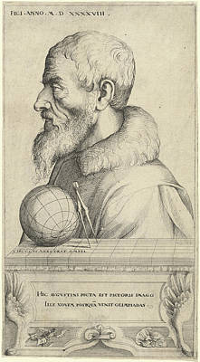 Self-portrait Drawing - Augustin Hirschvogel, German 1503-1553 by Litz Collection