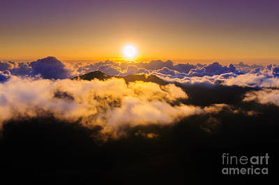 Photograph - Clouds At Sunrise Over Haleakala Crater Maui Hawaii Usa by Don Landwehrle