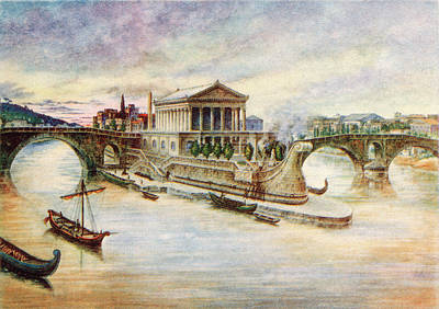 Tiber Island Wall Art - Painting - 290 Bce Bc Rome Temple Of Aesculapius by Vintage Images