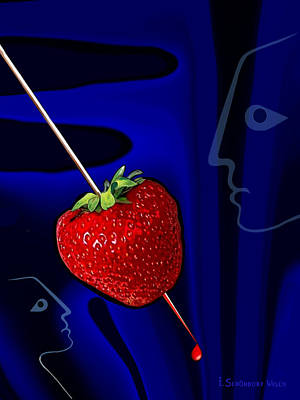 Strawberries Digital Art - 291 - How To Stab  A Strawberry by Irmgard Schoendorf Welch