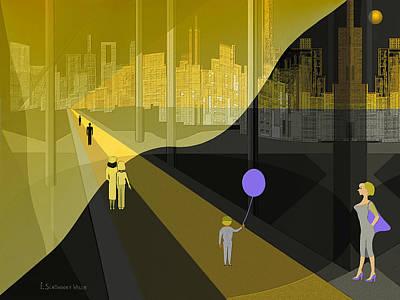 Digital Art - 298 - Nightwalking To The Golden City by Irmgard Schoendorf Welch