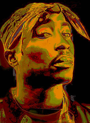 Harlem Digital Art - 2pac  by  Fli Art