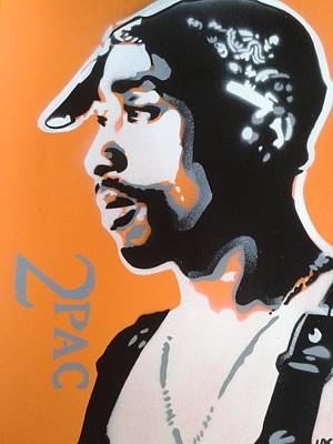 Hip Hop Painting - 2pac In Orange by Leon Keay