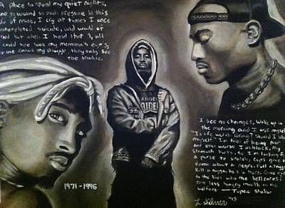 Superstar Drawing - 2pac Tribute by Larry Silver