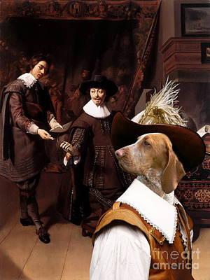 Painting -  Bracco Italiano - Italian Pointing Dog Art Canvas Print by Sandra Sij