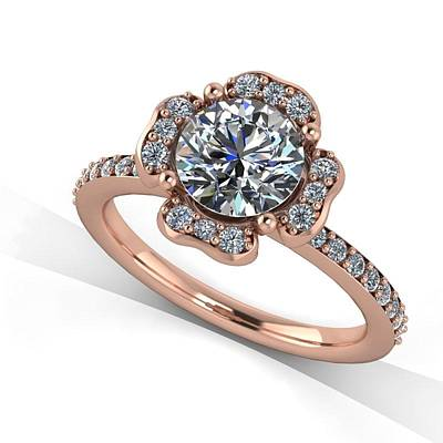 Morganite Jewelry - 14k Rose Gold Diamond Ring With Moissanite Center Stone by Eternity Collection