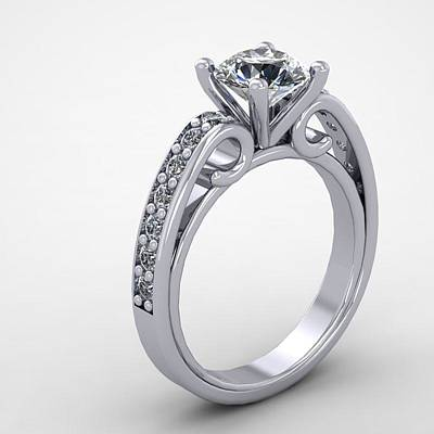 Cubic Zirconia Jewelry - 14k White Gold Diamond Ring With Moissanite Center Stone by Eternity Collection
