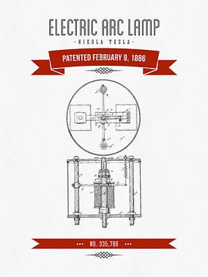 1886 Nikola Tesla Electric Arc Lamp Patent Patent Drawing - Retr Art Print by Aged Pixel