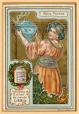 Card Stock Drawing - 1890s France Liebig Cigarette Card by The Advertising Archives