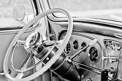 1933 Pontiac Photograph - 1933 Pontiac Steering Wheel -0463bw by Jill Reger
