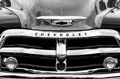 1955 Chevy Photograph - 1955 Chevrolet 3100 Pickup Truck Grille Emblem by Jill Reger