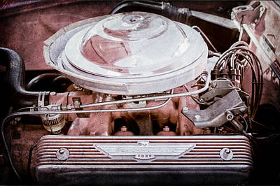 1955 Ford Thunderbird Engine Art Print