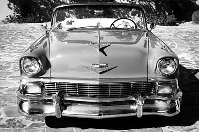1956 Chevrolet Belair Convertible Custom V8 -051bw Art Print