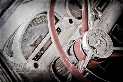 1956 Ford Photograph - 1956 Ford Thunderbird Steering Wheel by Jill Reger