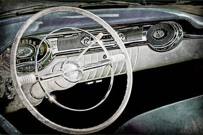1956 Oldsmobile Starfire 98 Steering Wheel And Dashboard Art Print by Jill Reger