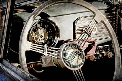 1956 Volkswagen Vw Bug Photograph - 1956 Volkswagen Vw Bug Steering Wheel by Jill Reger