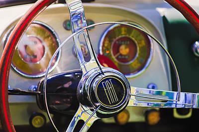 Photograph - 1958 Fiat 1200 Tv Sportsman Roadster Steering Wheel by Jill Reger