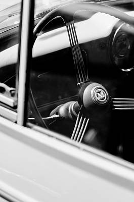 Photograph - 1960 Morris Minor Panel Delivery Truck Steering Wheel Emblem by Jill Reger