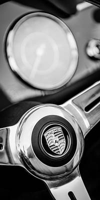 Photograph - 1960 Porsche 356b 1600 Roadster Steering Wheel Emblem by Jill Reger