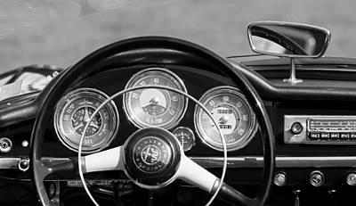Photograph - 1961 Alfa Romeo Giulietta Spider Steering Wheel Emblem -1185bw by Jill Reger